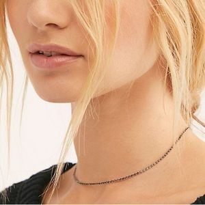 Free people delicate rhinestone necklace -pink